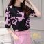 เสื้อ+กางเกง แบบแขนสามส่วนพิมพ์ลายดอกไม้โทนสีชมพู thumbnail 4