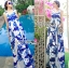 Lady Grace Sexy Elegant White and Blue Printed Cut-Out Back Maxi Dress thumbnail 5