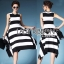 Lady Ribbon's Made Lady Clair Minimal Chic Bold Striped Asymmetric Dress thumbnail 1
