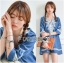 Lady Ribbon's Made Lady Claire Rich Embroidered Boho Cotton Dress สียีนส์ thumbnail 3