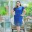 3 Size= ,2XL,3XL,4XL, ชุดเดรสสาวอวบ++ ผ้าชีฟองฉลุลายสีน้ำเงิน นำเข้าจากญี่ปุ่น แขนชีฟองระบาย 2 ชั้น thumbnail 2