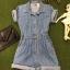Vintage jumpsuit : จั๊มสูทยีนส์ขาสั้น เอวจั๊มหลัง ผ้ายีนส์เนื้อไม่หนา thumbnail 1