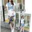 Lady Dree Street Chic Sequin and Studded Denim Set สียีนส์อ่อน thumbnail 3