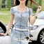 Seoul Secret Say's... Diamond Crystal Furnish Denim Dress thumbnail 1