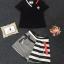 Korea Design By Lavida watch stylish decorated v neck top striped pants pretty set ดำ thumbnail 4