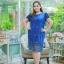 3 Size= ,2XL,3XL,4XL, ชุดเดรสสาวอวบ++ ผ้าชีฟองฉลุลายสีน้ำเงิน นำเข้าจากญี่ปุ่น แขนชีฟองระบาย 2 ชั้น thumbnail 5