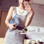 Seoul Secret Say's... Chic Stripy bib Dress สีเทา thumbnail 1