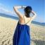 ชุดเดรสยาวใส่ไปเที่ยวทะเลสีน้ำเงิน สายเดียว ทรงหลวม ใส่ไปทะเล สบายๆ thumbnail 2