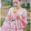 Lady Chloe Sweet Feminine Graphic Pink Floral Printed Dress พื้นสีครีมอ่อน thumbnail 2