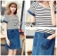 Lady Miranda Casual Minimal Striped and Denim Dress thumbnail 2