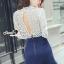 Seoul Secret Say's...Back Rive Lace Denim Dress thumbnail 3