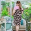 3 Size= XL,3XL,5XL ชุดเดรสสาวอวบ++ผ้า Sanfox พื้นดำ ทอลายดอกชมพู จุดเด่นของชุดนี้ตัดต่อด้านบน และแขนด้วยผ้า Hanako สีชมพู thumbnail 16