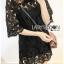 Lady Ribbon's Made Lady Delphina Classic Minimal Guipure Lace Dress สีดำ thumbnail 1
