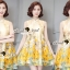 Seoul Secret Say's... Yellow Flora Girly Silkly Dress thumbnail 2