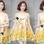 Seoul Secret Say's... Yellow Flora Girly Silkly Dress thumbnail 2