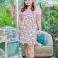 3 Size= XL,3XL,5XL ชุดเดรสสาวอวบ++ผ้า Sanfox พื้นขาว ทอลายดอกชมพู จุดเด่นของชุดนี้ตัดต่อด้านบน และแขนด้วยผ้า Hanako สีชมพู thumbnail 11