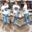 Lady Ribbon's Made Lady Coco Camellia Denim Embroidered T-Shirt and Skinny Jeans Set thumbnail 3