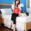 เสื้อแฟชั่น คอกลม แขนสั้น ผ้าชีฟอง เสื้อสีขาวตัดสีแดงส้ม รหัส 44123-แดง thumbnail 7