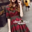 Seoul Secret Say's...Emerald Green Coral Red Layer Lace Dress thumbnail 3