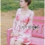 Lady Chloe Sweet Feminine Graphic Pink Floral Printed Dress พื้นสีครีมอ่อน thumbnail 1