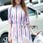 Lady Ribbon's Made Lady Julie Minimal Insert Lace Striped Short Dress thumbnail 1