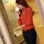 เสื้อทำงาน คอเต่า แขนยาว ผ้าฝ้ายผสมชีฟอง ทรงเข้ารูป เสื้อทำงานสีส้ม รหัส 73992-ส้ม thumbnail 6