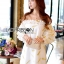 Lady Ashley Emy Summery Off-Shoulder Gold Feather Embroidered Organza Dress thumbnail 1