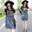 Lady Ribbon's Made Lady Natalie Street Chic Printed Jersey with Denim Mini Dress สีดำ thumbnail 2