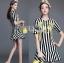 Lady Ribbon's Made Dolce & Gabbana Mini Yellow Embroidered Striped Dress thumbnail 4