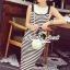 Seoul Secret Say's... Chic Stripy bib Dress สีดำ thumbnail 4