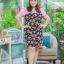 3 Size= XL,3XL,5XL ชุดเดรสสาวอวบ++ผ้า Sanfox พื้นดำ ทอลายดอกชมพู จุดเด่นของชุดนี้ตัดต่อด้านบน และแขนด้วยผ้า Hanako สีชมพู thumbnail 1