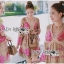 Lady Chloe Sweet Feminine Graphic Pink Floral Printed Dress พื้นสีน้ำตาล thumbnail 2