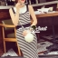 Seoul Secret Say's... Chic Stripy bib Dress สีดำ thumbnail 1