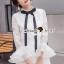 Seoul Secret Say's... Blackly Ribbin Tie Ivory Lace Dress thumbnail 1