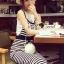 Seoul Secret Say's... Chic Stripy bib Dress สีดำ thumbnail 2