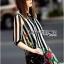 Lady Ribbon's Made Lady Marina Striped and Floral Printed Chiffon Shirt Dress thumbnail 2