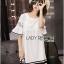 Lady Ribbon's Made Lady Koko Summery Navy Striped Lace and Polyester Dress thumbnail 2