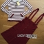 Lady Ribbon's Made Lady Elena Super Chic Striped Wool Knit Sweater and Overall Dress สีแดง thumbnail 5