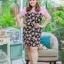 3 Size= XL,3XL,5XL ชุดเดรสสาวอวบ++ผ้า Sanfox พื้นดำ ทอลายดอกชมพู จุดเด่นของชุดนี้ตัดต่อด้านบน และแขนด้วยผ้า Hanako สีชมพู thumbnail 8