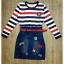 Petite stripe bottom front denim dress by Sweet Bunny thumbnail 5