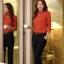 เสื้อทำงาน คอเต่า แขนยาว ผ้าฝ้ายผสมชีฟอง ทรงเข้ารูป เสื้อทำงานสีส้ม รหัส 73992-ส้ม thumbnail 10