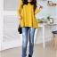 เสื้อแฟชั่น คอปกสีดำ แขนยาว ผ้ายืด เสื้อสีเหลือง รหัส 44111-เหลือง thumbnail 2