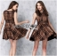 Lady Ribbon's Made Lady Cris British Elegant Check Printed Beige Dress thumbnail 3