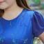 3 Size= ,2XL,3XL,4XL, ชุดเดรสสาวอวบ++ ผ้าชีฟองฉลุลายสีน้ำเงิน นำเข้าจากญี่ปุ่น แขนชีฟองระบาย 2 ชั้น thumbnail 14