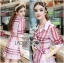 Lady Ribbon's Made Lady Susan Double-Breast Checked Pink Trench Coat thumbnail 1