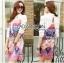 Lady Ribbon's Made Lady Victoria Colourful Mixed Floral Printed Satin Shirt Dress thumbnail 3