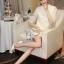 Korea Design By Lavida elegant see through daisy floral white lace dress thumbnail 2