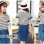 Lady Miranda Casual Minimal Striped and Denim Dress thumbnail 4