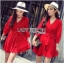 Lady Ribbon's Made Lady Stella Sexy Vivid Color Wrap Dress with Ribbon สีแดง thumbnail 1