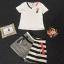 Korea Design By Lavida watch stylish decorated v neck top striped pants pretty set ขาว thumbnail 5